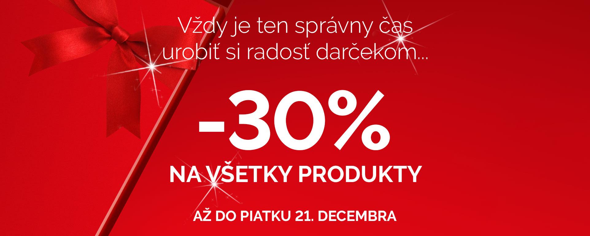 30% na všetky produkty